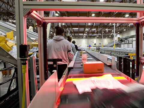UPS packages being scanned