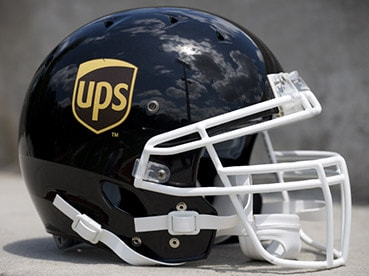 Football helmet with UPS logo