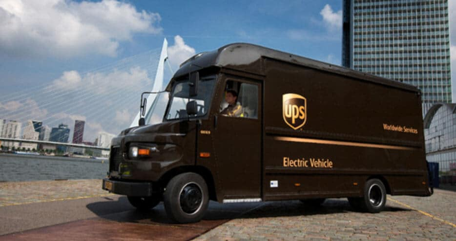 A Parked Ups Electric Vehicle Truck